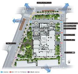 ※掲載の敷地配置図イラストは計画段階の図面を基に起こしたもので、形状・色等は実際とは多少異なります。また、一部敷地外の道路等を合わせて着彩しています。