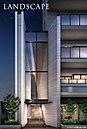コンクリート打放し風の木目調塗装で仕上げた壁や、斜めに切り取られた空間が印象的な3層吹抜のエントランス。洗練の風格を纏った贅沢な空間デザインが街の喧噪を離れ、落ち着きの居住空間へと誘います。