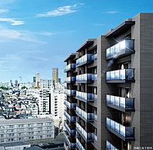 ※掲載の外観完成予想図は現地12階相当から北西方面を撮影した周辺写真(平成29年12月撮影)に、計画段階の図面を基に描き起こした建物完成予想図をCG合成・加工したもので、実際とは異なります。