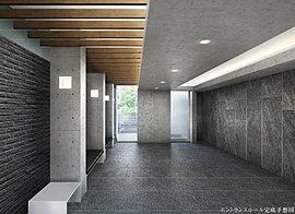 エントランスアプローチからの連続性を意識した木調のルーバーが洗練された意匠の繋がりを生みだすエントランスホール。気品溢れる上質な空間美に包まれながら、安らぎの私邸へと誘います。