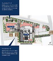 ※掲載の1階フロア概念図は計画段階の図面を基に描き起こしたもので、形状・色等は実際とは多少異なります。また、一部敷地外の道路等を合わせて着彩しています。