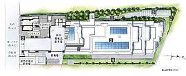 【1】植栽計画【2】太陽光パネル【3】歩車道分離【4】テラス【5】プライベートガーデン※敷地配置図イラストは図面を基に描き起こしたもので、実際のものと多少異なります。方位記号は若干の誤差があります。