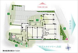 【1】エントランス 【2】西側外構 【3】回廊 【4】川沿い緑地