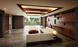 洗練された時と空間で演出する迎賓空間。「ライオンズ小岩グランテラス」では、新しい暮らしを綴る邸宅ならではの迎賓空間をプランニング。ガラス越しに植栽が楽しめる開放感溢れる空間を柔らかな光が彩り、豊かな時間を演出。
