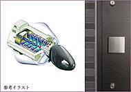 住戸玄関キーはピッキング被害の防止対策として、ディンプルキーを採用。