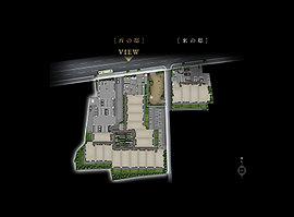 【7】ベンチや遊具を設置した憩いの場となる提供公園 【8】嵐山を象徴する川の情景をデザインした渡月の苑(西の邸)