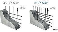 建物構造壁及び床スラブは、配筋を2重に組むダブル配筋とし、躯体の強度を向上させています。※建物構造壁以外の躯体壁を除く。一部チドリ配筋。