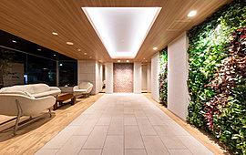 石や木目調の素材のしつらいが優しい雰囲気を漂わせ、ゆったりとくつろげる空間。
