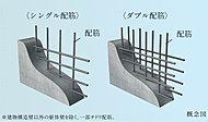 建物の耐力壁は、配筋を2重に組むダブル配筋とし、躯体の強度を向上させています。