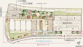 """南側は、駅前から続く桜並木と連続するように「桜のプロムナード」を形成。北側には、敷地の高低差を活かして「テラスガーデン」を設置。高木を数多く採り入れた""""小さな森""""のような空間で、アウトドアのひとときを楽しめます。"""