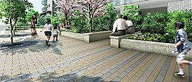 敷地全体の開放感と独立性に優れた角地四季彩の庭や緑遊の並木道、キッズテラスなど緑の中の交流空間を豊富に設けました。