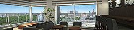 ※掲載のスカイラウンジ完成予想CGは、図面を基に描き起こしたものに現地18階相当より撮影(平成27年7月)した眺望写真をCG合成したもので実際とは異なります。住戸の向き・階数により眺望は異なります。