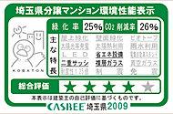 建築主が埼玉県に提出する特定建築物環境配慮計画書の取り組み状況に基づき、緑化率、C02削減率と、該当する主な特徴を表示します。