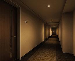 一邸一邸の間口のゆとりとプライバシーを重視したフロア設計。「ブランズ京都御所西」では、プライバシーと住空間のゆとりを重視して、各邸の玄関を建物の中心に向けた内廊下型を採用。