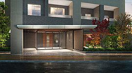 大きく張り出した庇と、重厚な石板のタイル、植栽を柔らかく透かして見せるアクセントウォール。利便性の高い住環境にありながらも、邸宅空間を守り隔てるエントランスには、格式と趣きを両立させたオーセンティックなデザインを採用しました。