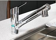 節湯・節水構造の水栓一体型浄水器を採用。浄水器ごと蛇口を引き出すことができるため、シンクを洗う時なども便利です。