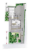 街並に調和し、寄与するために、約20mの贅沢な引きをつくった配棟計画。※掲載の敷地配置図イラストは、計画段階の図面を基に描き起こしたイラストで実際と異なる場合がございます(2017年7月現在)。