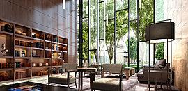 落ち着いたリゾートホテルのような雰囲気の2層吹き抜けのメインラウンジは、大人が寛げる場所です。
