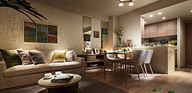 ゆとりあるべッドルームはシックな色調で統一。隣にはドレッシングスぺースを設えました。