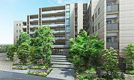 「ヒルトップ」へのアプローチ空間となる「エントランスガーデン」。地形の高低差を活かし、単調な擁壁ではなく、段上に連なる植栽帯を設けることで圧迫感をなくし、空間の広がりと緑の潤いが感じられる景観を創出。