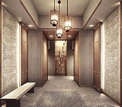 エントランスホールなどの空間デザインに世界有数のホテルやリゾートを手がけるHBA( ハーシュ・ベドナー・アソシェイツ)インテリアデザイン事務所が参画。