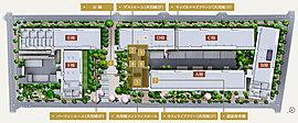 【1】公園【2】敷地内の認証保育園(平成30年4月開園予定)【3】カフェライブラリー(共用棟1F)【4】キッズ&ママズラウンジ(共用棟1F)【5】パーティールーム(共用棟2F)【6】ゲストルーム(共用棟2F)【7】レンタサイクル【8】カーシェアリング