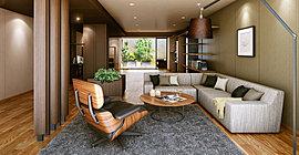 1階共用部には気持ちのいいソファ、様々な雑誌を楽しめるライブラリーなど、居心地のいい場所を選んで寛げるミックスラウンジを設けました。