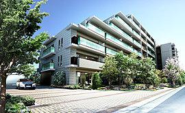 全146邸のスケールでありながら、低層の街並みと調和する地上7階建て。外観意匠は、深いグレーとブラウンを基調とし、建物全体に上質感を演出しています。