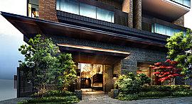 植栽やロートアイアンの門構えを施したエントランス。赤土色や墨色のタイルを施した、風合い豊かな表情にダイレクトコーナーウィンドウが映えるファサード。訪れた方を優雅にもてなす邸宅品質の住まいを創造します。