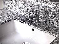 洗面化粧台カウンタートップと三面鏡下の立ち上がり部分に御影石を使用。