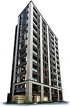 メインファサードは、ベージュ色の45三丁掛けタイルを施した格子状の柱を軸に建物の垂直性を強調。柱と柱の間の住戸部分には、濃茶系の左官塗りを採用し、コントラストが際立つ表情を描きながら、住まいとしての温もり、風合いを演出しました。