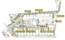 ※掲載の敷地配置図イメージイラストは計画段階の図面を基に描いたもので、実際とは異なります。