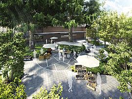 大樹が迎えるにぎわいの庭ヒマラヤガーデン。エリアのシンボルとして愛されてきた2本のヒマラヤスギを囲むように、商業施設やカフェラウンジ、バス停が集まる広場は街のシンボル的な空間です。