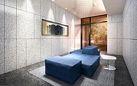 壁の大理石は外壁と同じものを採用し、屋外とつながりのある空間を演出しています。また豊かな緑の木々は外部からの視線を遮り、緩やかな境界を描いて住まいのプライバシー性を高めます。