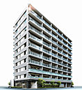 「プラウド東神奈川」は全邸を南東向きに配置。キャナルを目の前にして、地上10階建てのフォルムで誕生します。青い海と青い空に似合う清新なホワイトを基調色とし、建物の水平ラインを強調することで、端正な佇まいを演出。