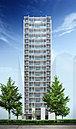 地上19階、全87邸※1。桜通りに面し、ランドマーク性を重視したシンボリックな思想を彩る外観意匠。