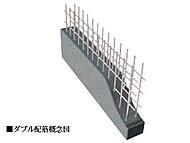 外壁や戸境壁に鉄筋を二重に組むダブル配筋を採用。シングル配筋より優れた耐久性能を発揮し、コンクリ―トの収縮によるヒビ割れも抑止します。