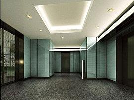 エレベーターホールは、間接照明で温かみのある雰囲気を演出しています。