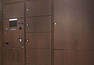 不在でも荷物が受け取れるメールボックス一帯型宅配ボックス設置。荷物の取り出しは24時間可能です。