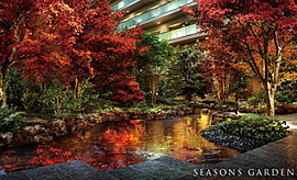 四季の中で住まう方が集い、日常に彩を添える贅沢な空間としてデザイン。緑景と水景が心を緊張を解きほぐし、心地よいひと時へと導きます。
