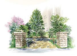 緑に包まれる「季の庭」。コミュニティの庭となる「季の庭」(自主管理公園)。内部にはシラカシやオオヤマザクラ、コブシなどの中高木が配され、足元を季節ごとに色と薫りが移ろう花々が彩ります。
