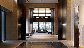 開放感と上質感がただよう、二層吹き抜けのエントランスホール。アプローチ空間には、美しい水盤やアート作品を。ガーデンテラスのやわらかな自然光が、穏やかで贅沢な暮らしへ誘います。