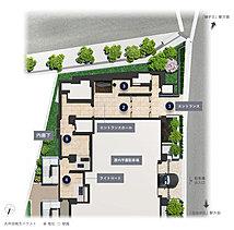 【1】重厚な擁壁と多彩な緑に彩られたゲート【2】安息へとエスコートするエントランスホール【3】ラウンジアートが優美で格調高い表情を創出【4】伸びやかな開放感をもたらすライトコート【5】外部からの視線を遮る内廊下設計