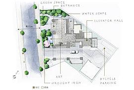 駿河台にあふれる魅力と呼応する。そのための創意工夫が、このランドスケープになされている。外濠から続く特別な空間を過ぎ、中庭には時の移ろいを美しく映す水景があり、その周囲を、ヒルトップならではの豊かな緑が周辺の緑と呼応しながら彩られる。