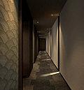 エントランスホールからエレベーターホールへと向かう空間は、落ち着いた雰囲気を醸し出す内廊下を採用。