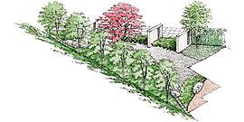 敷地内にある2つの中庭は、景色や化粧砂利、飾り壁など多彩な表情を見せる素材と豊かな緑の調和をテーマに、素材の表情を生かす日本庭園の伝統的な空間デザインを目指しました。