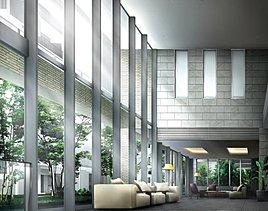 室内にいながら外の緑と一体となるように、大きなガラス窓を採用した共用棟のラウンジ。二層吹き抜けの開放感あふれる空間が、感性に響く豊かな時間を創り出します。