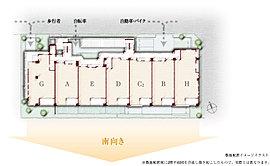 全邸南向きの総27邸、ゆとりの平均専有面積83.83m2。甲子園番町街から続く、落ち着いた街並みの一画。北東角地、整形の広い敷地を活かして住棟を配置。