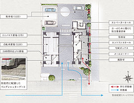 南面道路の立地を活かし、堂々とした構えのエントランスファザードを実現。車路にゆとりをもたせながら、安全性に配慮した歩行者専用アプローチを設けることで、美しく上質な迎えの空間をデザインしています。