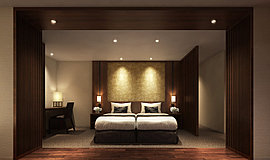 高級シティホテルブランド「ロイヤルパークホテルズ」がインテリアのサポートを担う、美意識に満ちたゲストルーム。